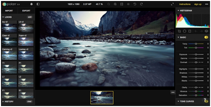 Polarr online image editing tool