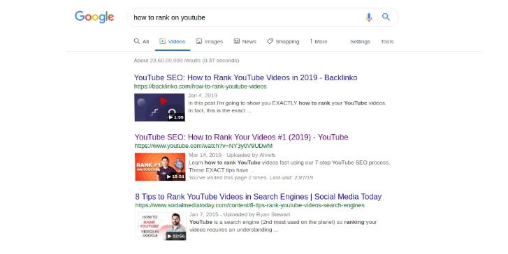 Youtube SERP